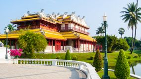 PA челки взгляда китайского здания внешнее в парке Ayutthaya Стоковые Изображения