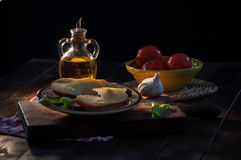 Pa amb oli. Still life of ingredients for preparing a pa amb oli typical of Mallorca, Spain royalty free stock images
