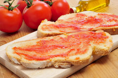 Bread with tomato, typical of Catalonia, Spain Stock Photography