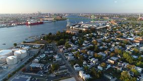 PA de Walt Whitman Bridge Delaware River South Philadelphia de la visión aérea metrajes