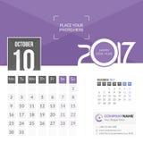 Październik 2017 Kalendarz 2017 Obrazy Stock
