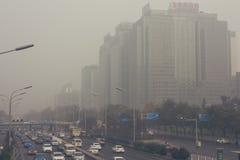 24 Październik, 2014 - Pekin Chiny Zanieczyszczenie powietrza w Pekin Chiny Obrazy Royalty Free