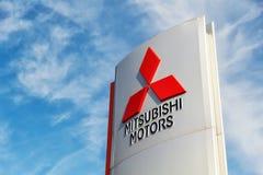 02 Październik 2015 - Vinnitsa, Ukraina loga Mitsubishi silniki Obrazy Stock
