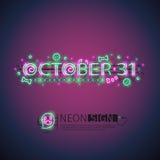 Października Halloweenowy Neonowy znak Fotografia Royalty Free