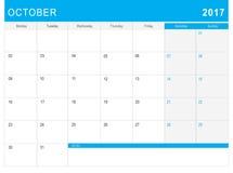 2017 Października kalendarz & x28; lub biurka planner& x29; z notatkami Zdjęcie Stock