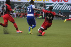 Pa Modou Kah. Tryed to kick the ball away from Fabian Castillo but ended up tripping. Portland Timbers vs FC Dallas football event Stock Photo