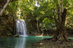 Pa Nam Tok. This is the 3rd waterfall from 7 of Erawan water fall Royalty Free Stock Photos