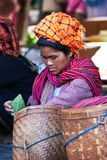 Pa-O tribe woman with basket, Myanmar Royalty Free Stock Photography