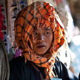 Pa-O tribe woman, Myanmar Royalty Free Stock Image