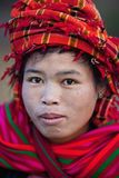 Pa-O tribe woman, Myanmar. SANGHAR, MYANMAR - JANUARY 15: Portrait of Pa-O tribe woman in national clothes during the local Htamanu Festival on January 15, 2011 stock photography