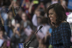 PA: Presidentsvrouw Michelle Obama voor Hillary Clinton in Philadelphia Stock Foto