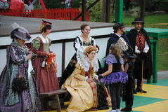 Pa Ren Fair. The Queen and performers at the Pennsylvania Renaissance Fair 2011 Royalty Free Stock Photos