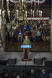 PA: Secretário Hillary Clinton Campaigns Rally em Philadelphfia Fotos de Stock Royalty Free