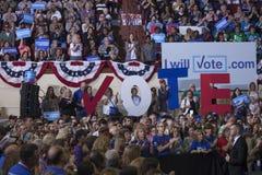 PA: Secretary Hillary Clinton Campaigns Rally in Harrisburg stock image