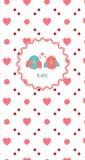 Pa tailandês Nang do nome do alimento Cartão com um par pássaros bonitos no amor ao dia de Valentim do St Estilo do vintage Imagens de Stock
