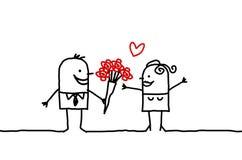 Paar & rozen Royalty-vrije Stock Afbeeldingen