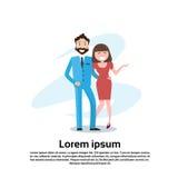 Paar Bedrijfs de Man en de Vrouw omhelzen het Gelukkige Glimlachen Stock Afbeelding