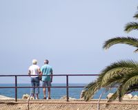 Paar-Betrachtungs-Ozean lizenzfreie stockfotografie