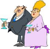 Paar bij een cocktail party. Royalty-vrije Stock Afbeeldingen