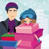 Paar bij het winkelen - de Winterverkoop Stock Foto's