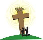 Paar bij Kruis royalty-vrije illustratie