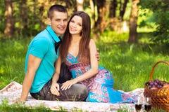 Paar bij openluchtpicknick Stock Fotografie