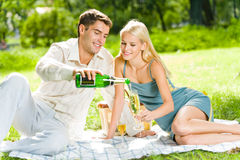 Paar bij picknick Royalty-vrije Stock Foto's