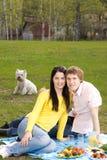 Paar bij romantische picknick Royalty-vrije Stock Fotografie