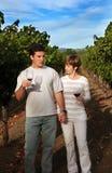 Paar bij wijngaard royalty-vrije stock foto