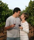 Paar bij wijngaard royalty-vrije stock afbeeldingen