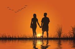 Paar bij Zonsondergang Royalty-vrije Stock Foto