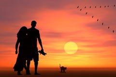 Paar bij zonsopgang Stock Afbeeldingen
