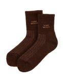Paar bruine wollen sokken van jakkenwol Royalty-vrije Stock Foto's