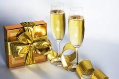 Paar champagnefluiten Royalty-vrije Stock Afbeeldingen