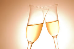 Paar champagnefluiten Stock Afbeelding