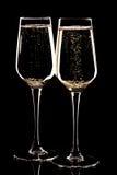 Paar champagneglazen Stock Foto's