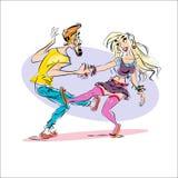 Paar dansende rots royalty-vrije illustratie