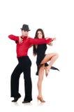Paar geïsoleerdee dansers Stock Foto's