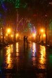 Paar dat bij steeg in nachtlichten loopt Royalty-vrije Stock Foto
