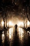 Paar dat bij steeg in nachtlichten loopt. Royalty-vrije Stock Fotografie