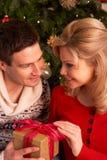 Paar dat de Giften van Kerstmis ruilt Stock Fotografie