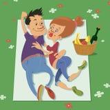Paar dat een picknick heeft vector illustratie