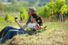 Paar dat in een wijngaard proevende wijn ligt Stock Foto's