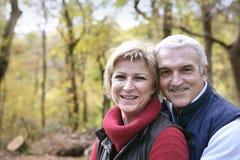 Paar dat in het bos wandelt Royalty-vrije Stock Afbeelding