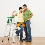 Paar dat huis remodelleert. royalty-vrije stock fotografie