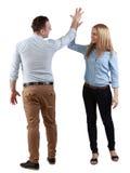 Paar dat hun succes viert Stock Foto's