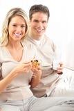 Paar dat lunch heeft royalty-vrije stock foto