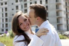 Paar dat nieuw huis droomt Royalty-vrije Stock Afbeelding