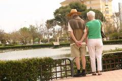 Paar dat op het meer let Stock Afbeelding