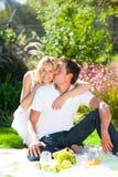 Paar dat picknick in een park heeft Royalty-vrije Stock Afbeelding